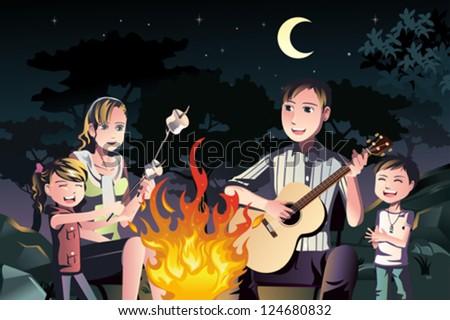 A vector illustration of a happy family having a bonfire outdoor - stock vector
