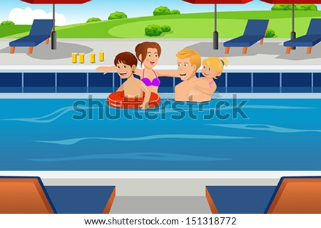 A vector illustration of a happy family having fun in a swimming pool together - stock vector