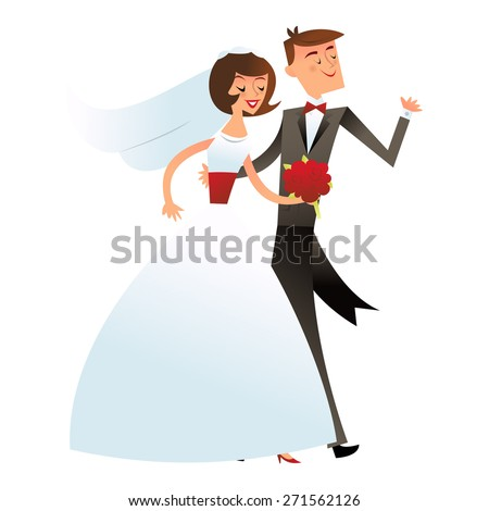 A vector illustration of a happy wedding couple or bride and groom in retro mid century modern style.