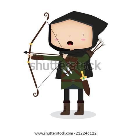 A vector illustration of a hunter shooting an arrow from his bow. This is an Ai10 file that does contain a mesh for the face, but doesn't contain any gradients, transparencies, or blends. - stock vector