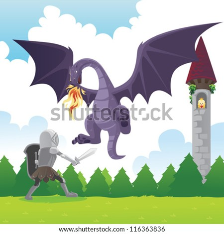 A vector illustration of a knight fighting a dragon to save a princess - stock vector