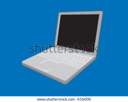 A vector illustration of a laptop computer - stock vector