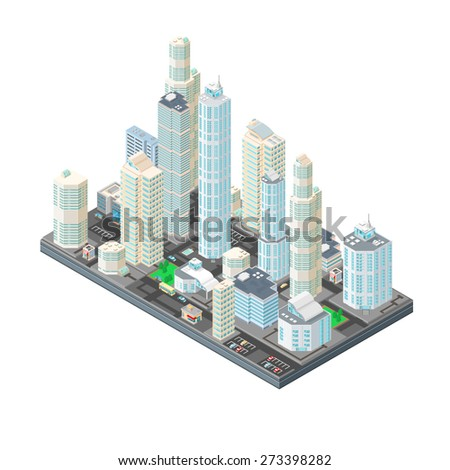 A vector illustration of a large cityscape with office buildings and skyscrapers. Isometric City Illustration. Isometric Urban City. - stock vector