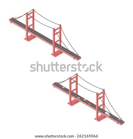 A vector illustration of a large isometric suspension bridge. Isometric bridge. Isometric suspension bridge with traffic. - stock vector