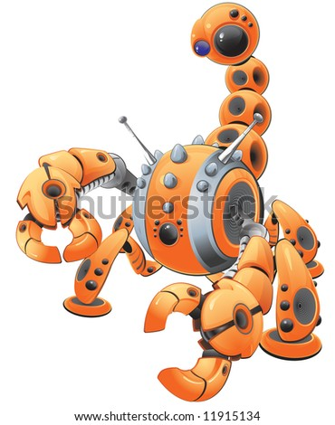 A vector illustration of a large orange scorpion robot in an attack pose. Made to represent spyware. - stock vector