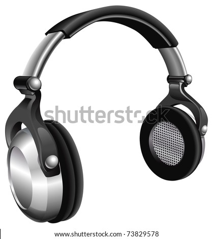 A vector illustration of a large pair of music headphones. - stock vector