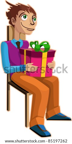 A vector illustration of a man, dreaming with a gift in his hands. - stock vector