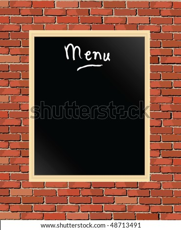 A vector illustration of a 'menu' chalkboard against a brick wall - stock vector