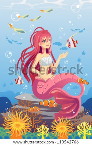 A vector illustration of a mermaid in the ocean surrounded by fish - stock vector