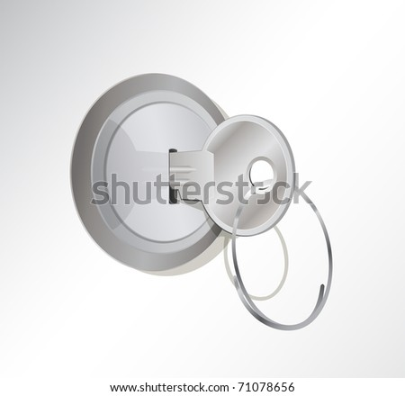 a vector illustration of a metal key in a lock - stock vector