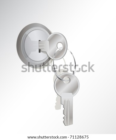 a vector illustration of a metal key in a lock with another key on the key-ring - stock vector