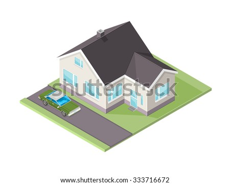 A vector illustration of a modern family home with car. Isometric Family home icon illustration. Home with transportation and garden. - stock vector