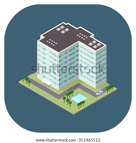 A vector illustration of a modern office building. Isometric office icon. state of the art workplace icons.