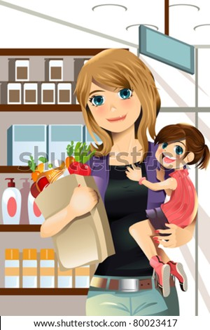 A vector illustration of a mother and a daughter going grocery shopping - stock vector