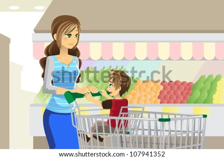 A vector illustration of a mother and her son going grocery shopping - stock vector