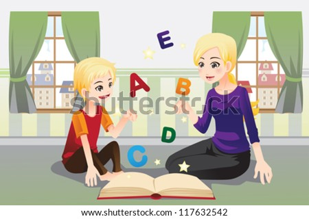 A vector illustration of a mother teaching her child about alphabet letters