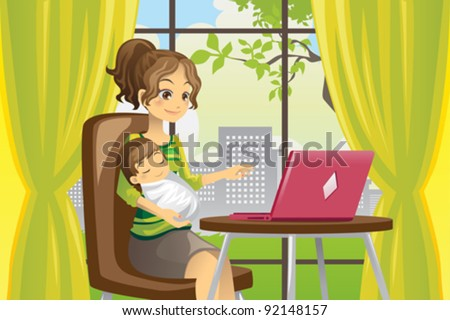 A vector illustration of a mother working on a laptop while holding a baby - stock vector