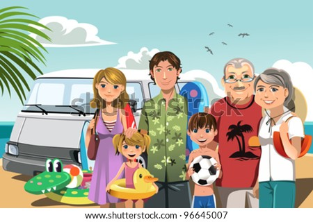 A vector illustration of a multi generation family on a beach vacation - stock vector