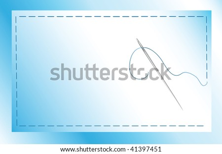 A vector illustration of a needle and thread sewing a patch onto fabric with copy space - stock vector
