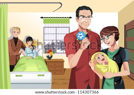 A vector illustration of a newborn baby with parents and grandparents - stock vector