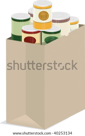 a vector illustration of a paper grocery bag of groceries - stock vector
