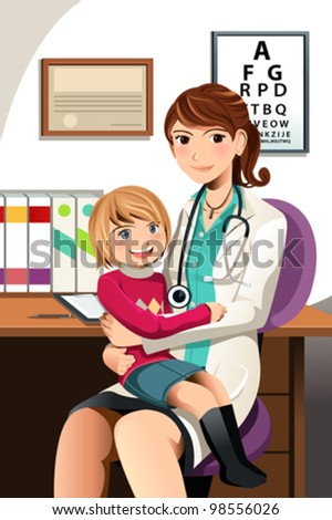 A vector illustration of a pediatrician with a little child sitting on her lap - stock vector