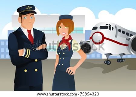 A vector illustration of a pilot and a stewardess in the airport - stock vector