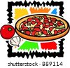 A vector illustration of a pizza with onion and tomato. - stock vector