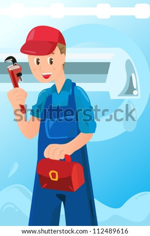 A vector illustration of a plumber holding a wrench