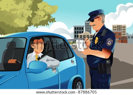 A vector illustration of a policeman giving a driver a traffic violation ticket - stock vector
