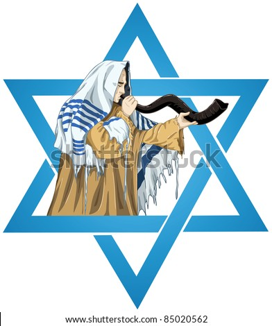 A vector illustration of a Rabbi with Talit blows the shofar with the star of David for the Jewish holiday Yom Kippur. - stock vector