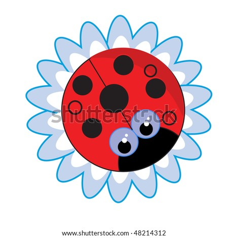 a vector illustration of a red bug flower - stock vector