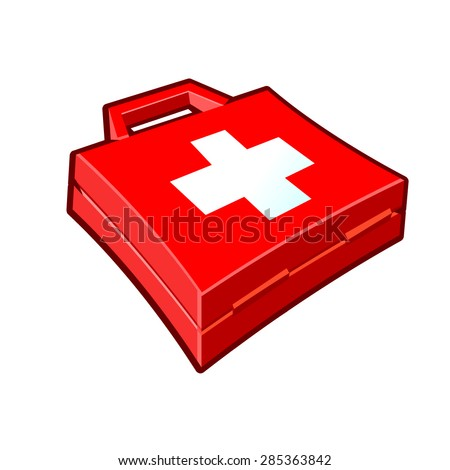 A vector illustration of a red first aid kit. First Aid kit icon illustration. A firs aid kit for and accident or emergency. - stock vector