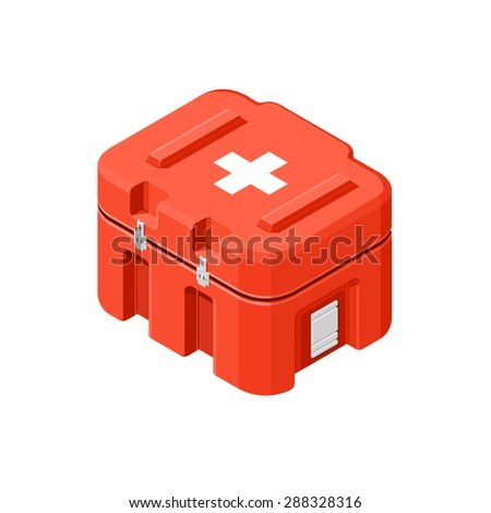 A vector illustration of a red first aid medical kit. Isometric First aid kit. First aid supply case. - stock vector