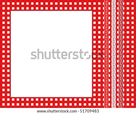 A vector illustration of a red gingham fabric frame with ribbons - stock vector
