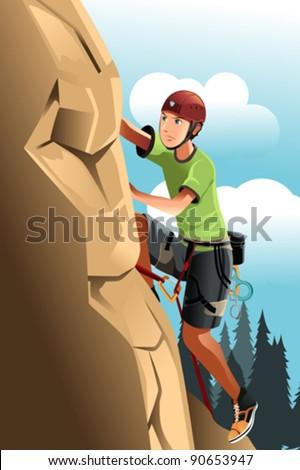 A vector illustration of a rock climber - stock vector