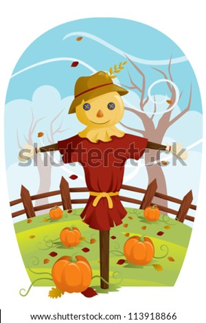 A vector illustration of a scarecrow during Fall harvest
