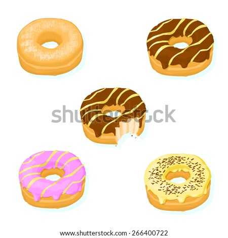 A vector illustration of a selection of tasty donuts. Donut Icon. Sweet Donuts with various toppings. - stock vector