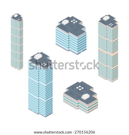 A vector illustration of a set of generic buildings. Isometric Buildings. Icons set of various isometric buildings. - stock vector