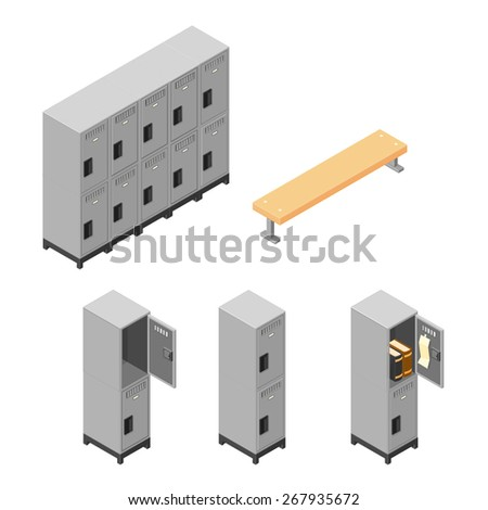 A vector illustration of a set of metal lockers for securing personal items. Isometric steel locker Icon set. - stock vector