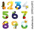 A vector illustration of a set of numbers in fun design - stock vector