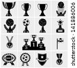 A vector illustration of a set of trophy icons - stock photo