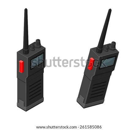 A vector illustration of a set of Walkie Talkies or a two way hand held radio. Walkie Talkie Radio. Hand held portable communication radio set. - stock vector