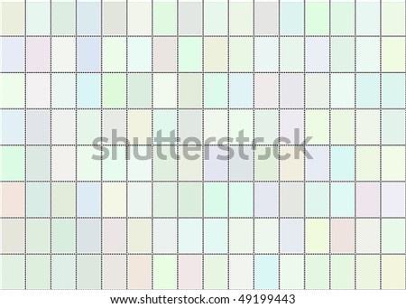 A vector illustration of a sheet of blank postage stamps in pastel shades - stock vector