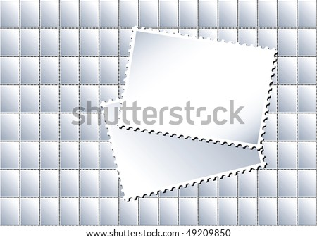 A vector illustration of a sheet of blank postage stamps in with larger stamps creating an area for text - stock vector