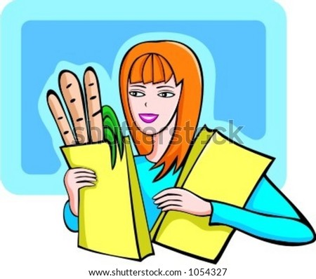 A vector illustration of a shopping red-haired girl holding bags with products.