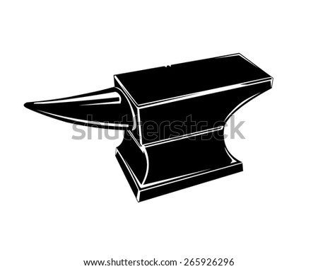 A vector illustration of a silhouette of an anvil. Anvil Iron Anvil. - stock vector