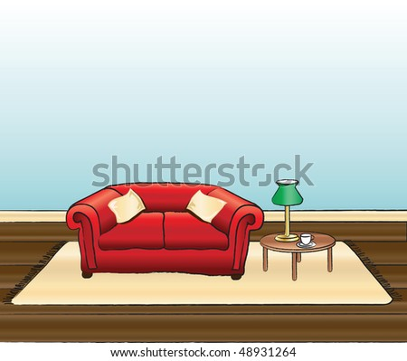 A vector illustration of a sitting room with space for text - stock vector