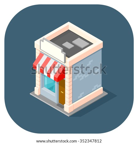 A vector illustration of a small Isometric shop.  Vector isometric shop.  Isometric retail Store concept. - stock vector