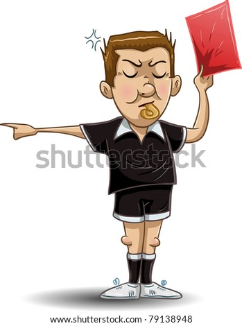 A Vector illustration of a soccer referee whistles, holds out a red card and points to the side. - stock vector